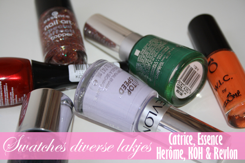 0791 Swatches diverse lakjes Catrice, Essence, W.I.C. by Herôme, KOH en Revlon