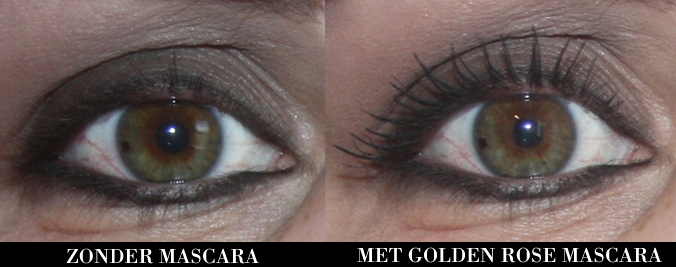 Wimpers zonder en met Golden Rose Maxim Eyes mascara