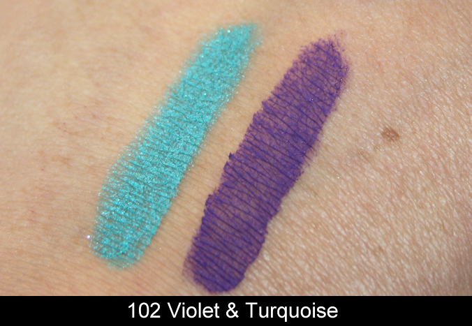 Swatches KIKO 'Life In Rio' Creamy Touch Eyeshadow Duo Violet & Turquoise
