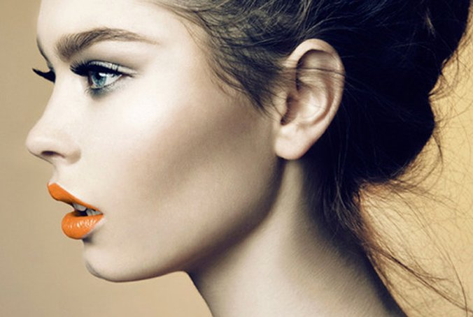 Make-up trend summer 2014: orange lips (bron foto: weheartit.com)