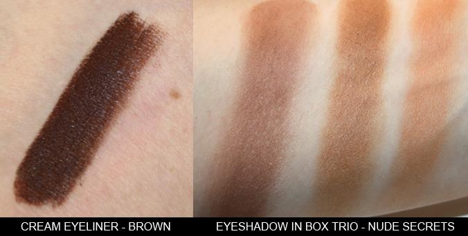 Swatches Private Tangerine Cream Eyeliner Brown Eyeshadow Nude Secrets